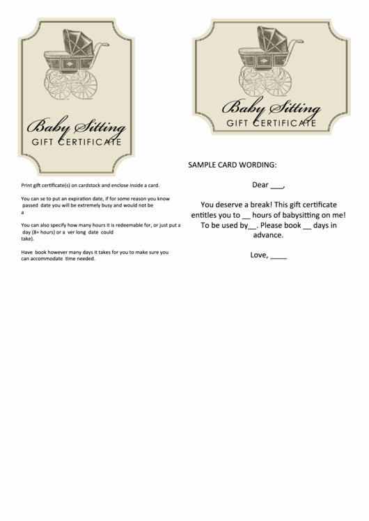 Babysitting Gift Certificate Template Luxury Babysitting Gift Certificate Template Printable Pdf