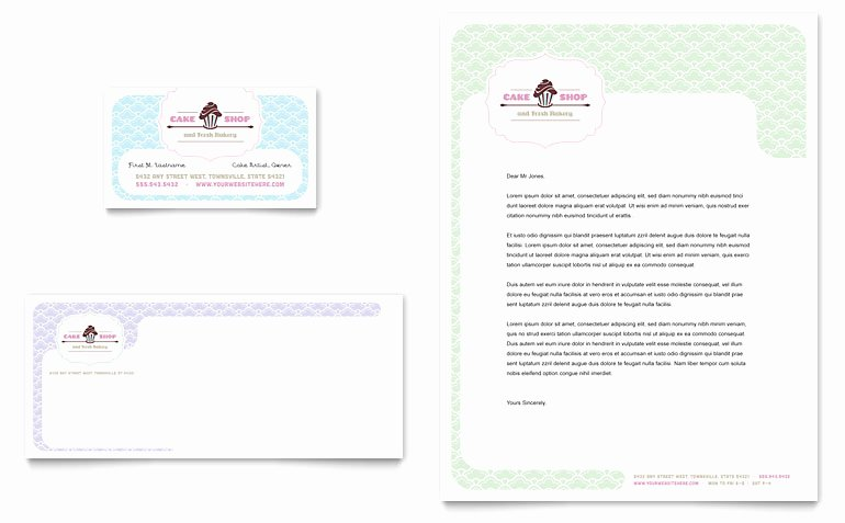 Bakery Gift Certificate Template Awesome Bakery & Cupcake Shop Business Card & Letterhead Template
