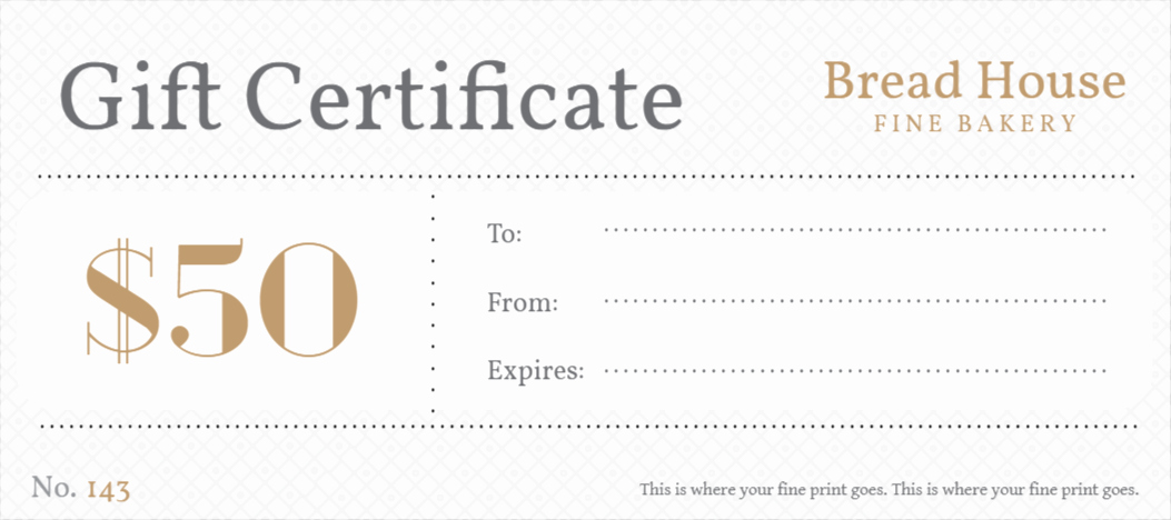Bakery Gift Certificate Template Awesome Free Gift Certificates Templates Design Your Gift