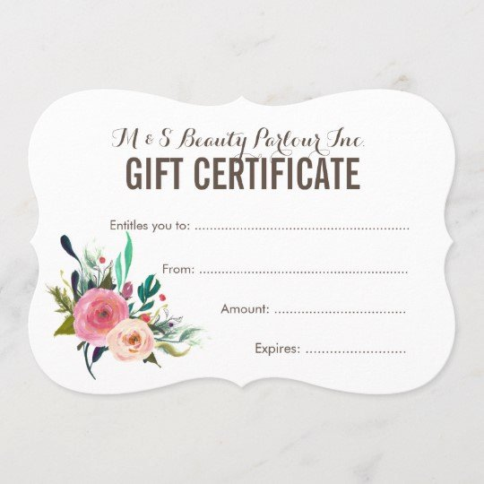 Bakery Gift Certificate Template Best Of Painted Floral Salon Gift Certificate Template