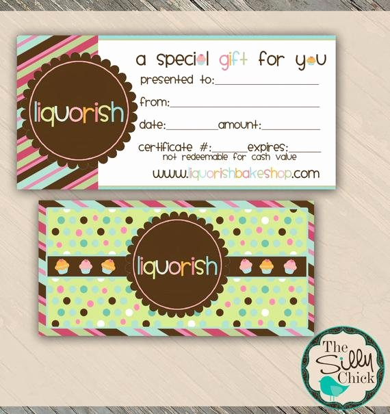 Bakery Gift Certificate Template Inspirational Bake Shop Gift Certificate Template by Sillychickdesign On