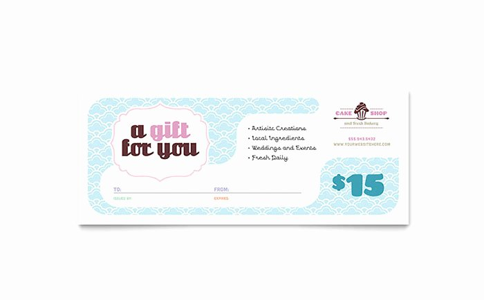 Bakery Gift Certificate Template Inspirational Bakery & Cupcake Shop Gift Certificate Template Design