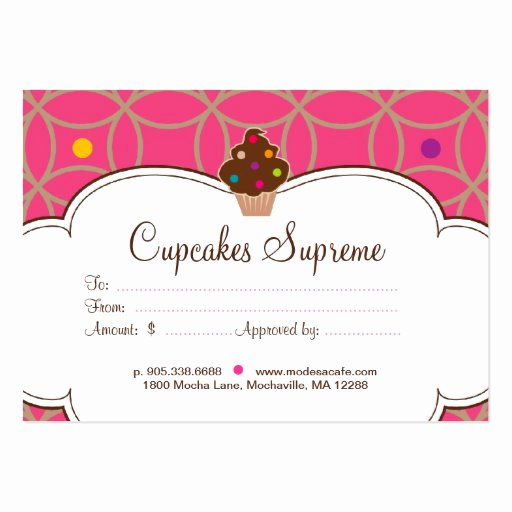 Bakery Gift Certificate Template New Cupcake Bakery Gift Certificate Dots Pink White