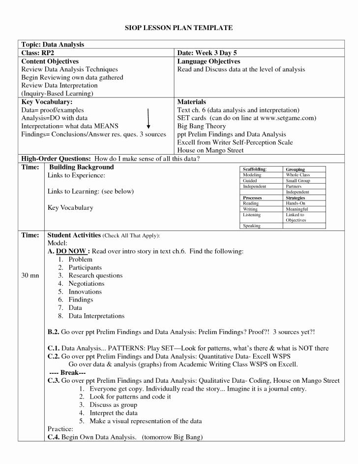 Balanced Literacy Lesson Plan Template Best Of Example A Siop Lesson Plan – Newest Siop Lesson Plan