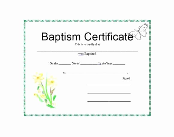 Baptism Certificate Free Template Inspirational 47 Baptism Certificate Templates Free Printable Templates