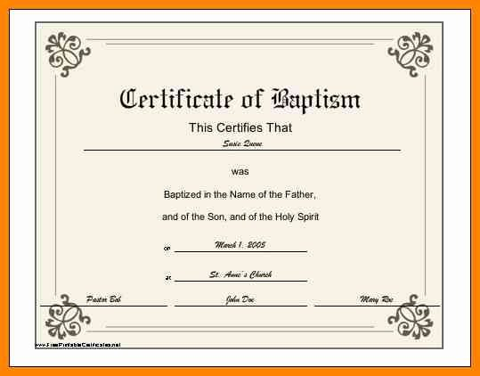 Baptism Certificate Template Download Awesome 6 Baptismal Certificate Template