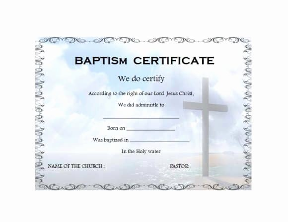 Baptism Certificate Template Download Beautiful 47 Baptism Certificate Templates Free Printable Templates