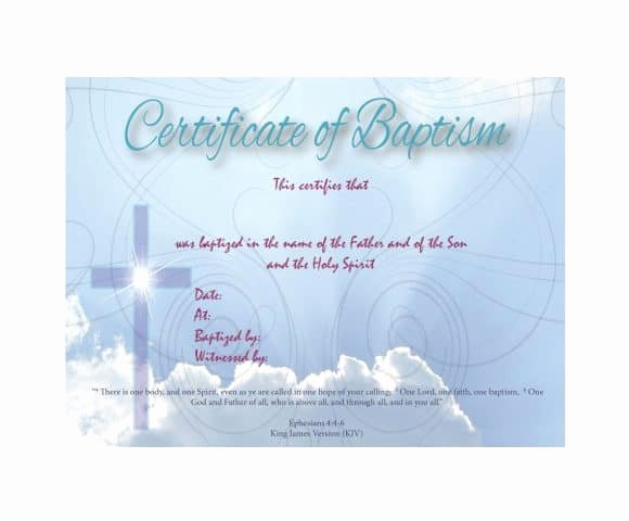Baptism Certificate Template Download Fresh 47 Baptism Certificate Templates Free Printable Templates