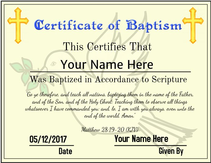 Baptism Certificate Template Download Fresh Copy Of Certificate Of Baptism