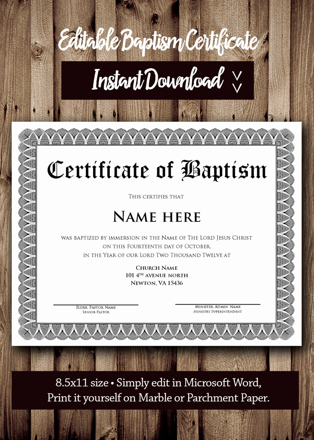 Baptism Certificate Template Download Inspirational Baptism Certificate Template Microsoft Word Editable
