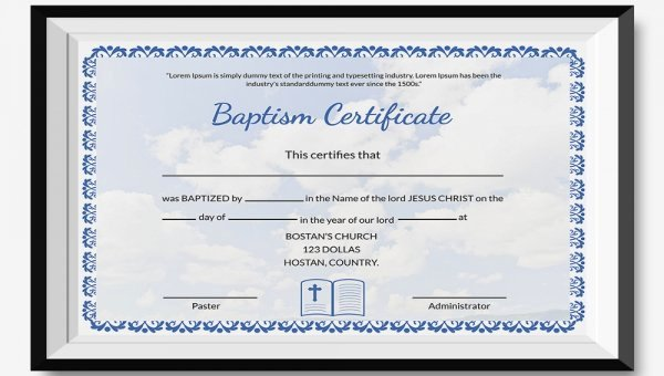 Baptism Certificate Template Free Beautiful 27 Sample Baptism Certificate Templates Free Sample