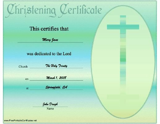 Baptism Certificate Template Free Best Of This Christening or Baptismal Certificate is Teal Blue