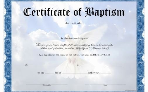 Baptism Certificate Template Free Lovely Free Printable Baptism Certificate