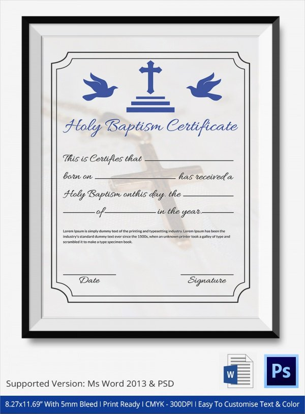 Baptism Certificate Template Free Unique Sample Baptism Certificate 23 Documents In Pdf Word Psd