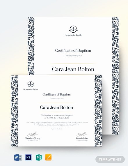 Baptism Certificate Template Publisher Elegant Baptism Certificate 19 Free Word Pdf Documents