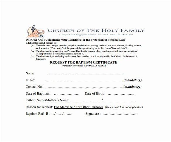 Baptism Certificate Template Publisher Elegant Baptism Certificate 20 Free Samples Examples format