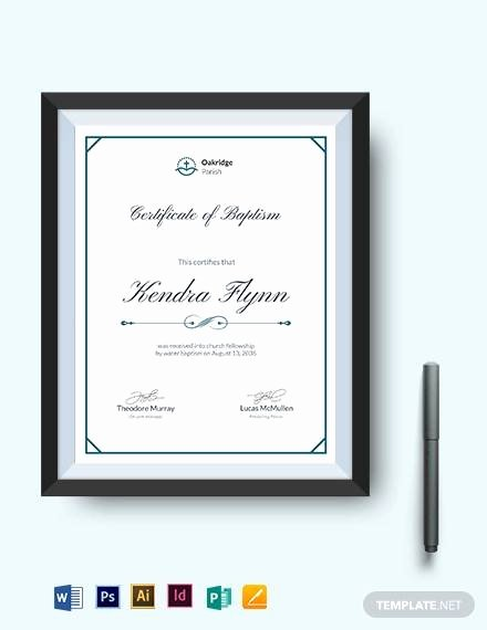 Baptism Certificate Template Publisher Elegant Sample Baptism Certificate 23 Documents In Pdf Word Psd