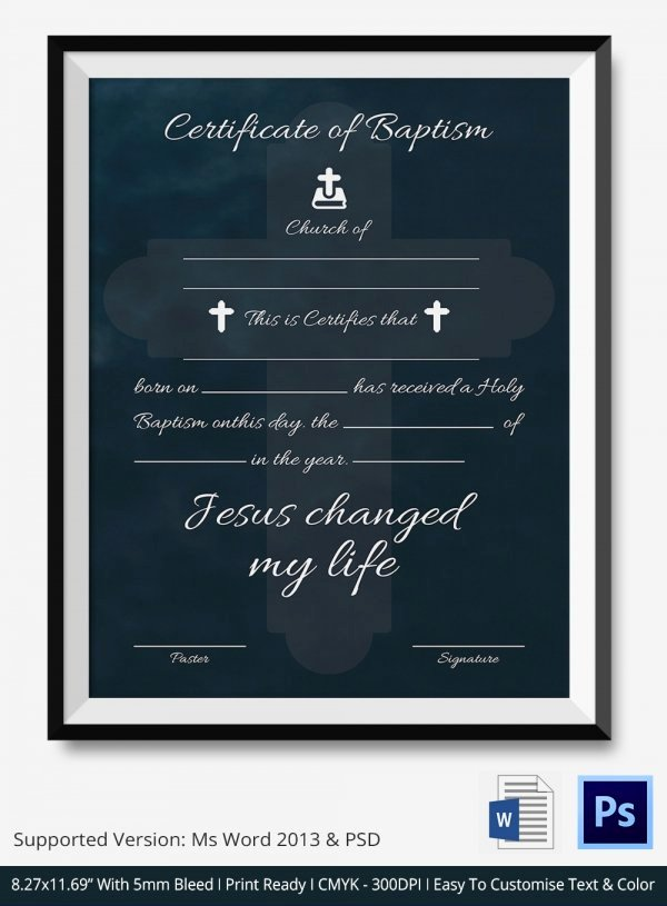 Baptism Certificate Template Publisher Fresh 27 Sample Baptism Certificate Templates Free Sample