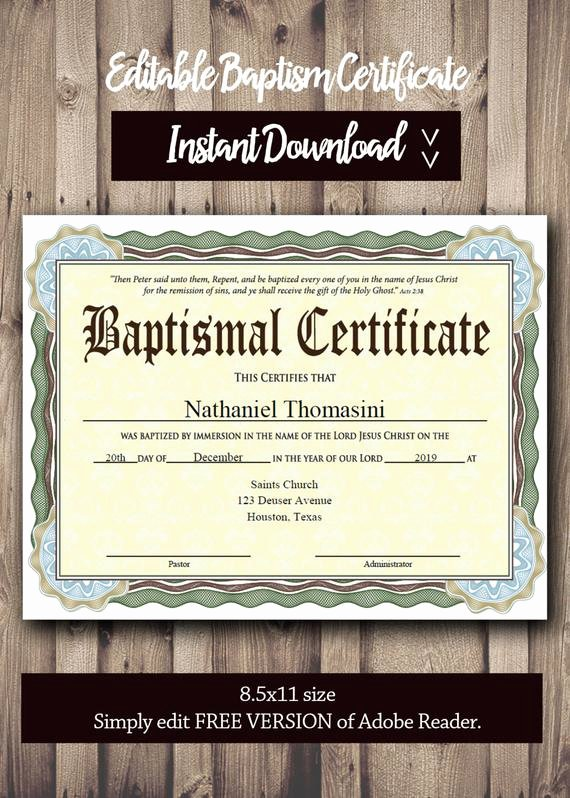 Baptism Certificate Template Publisher Fresh Editable Baptism Certificate Template Pdf Adobe Reader
