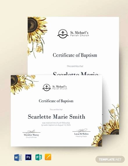 Baptism Certificate Template Publisher Inspirational Sample Baptism Certificate 23 Documents In Pdf Word Psd