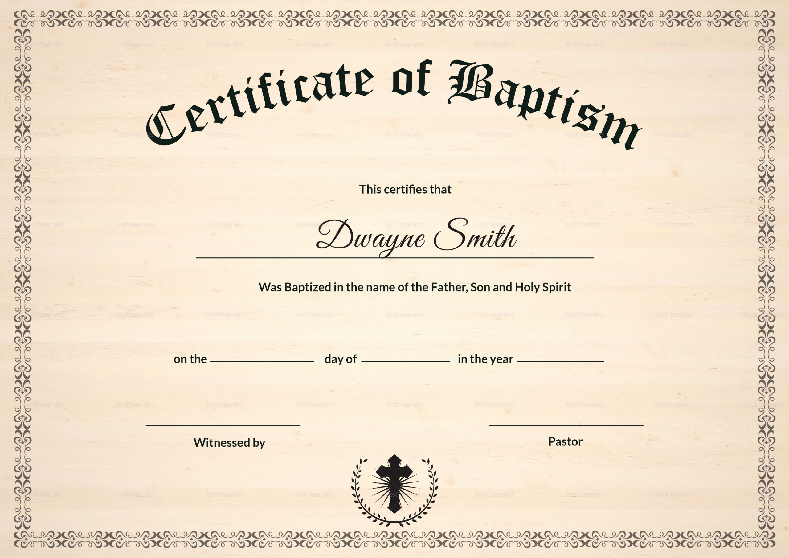 Baptism Certificate Template Word Awesome Baptism Certificate Design Template In Psd Word