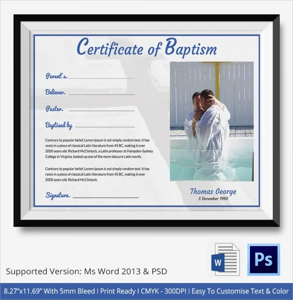 Baptism Certificate Template Word Beautiful Sample Baptism Certificate 23 Documents In Pdf Word Psd
