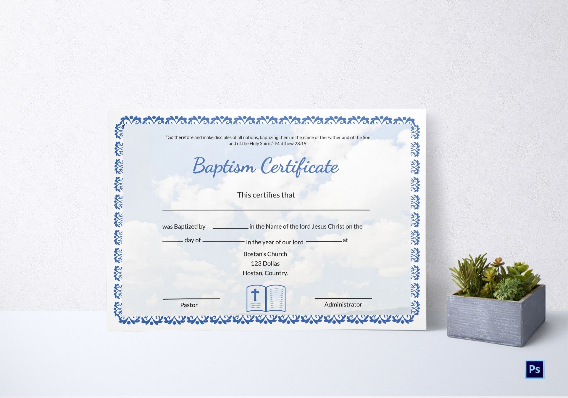 Baptism Certificate Template Word Lovely Editable Baptism Certificate Template In Adobe Shop