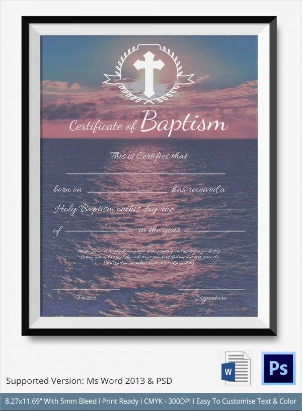 Baptism Certificate Template Word Luxury Sample Baptism Certificate 23 Documents In Pdf Word Psd