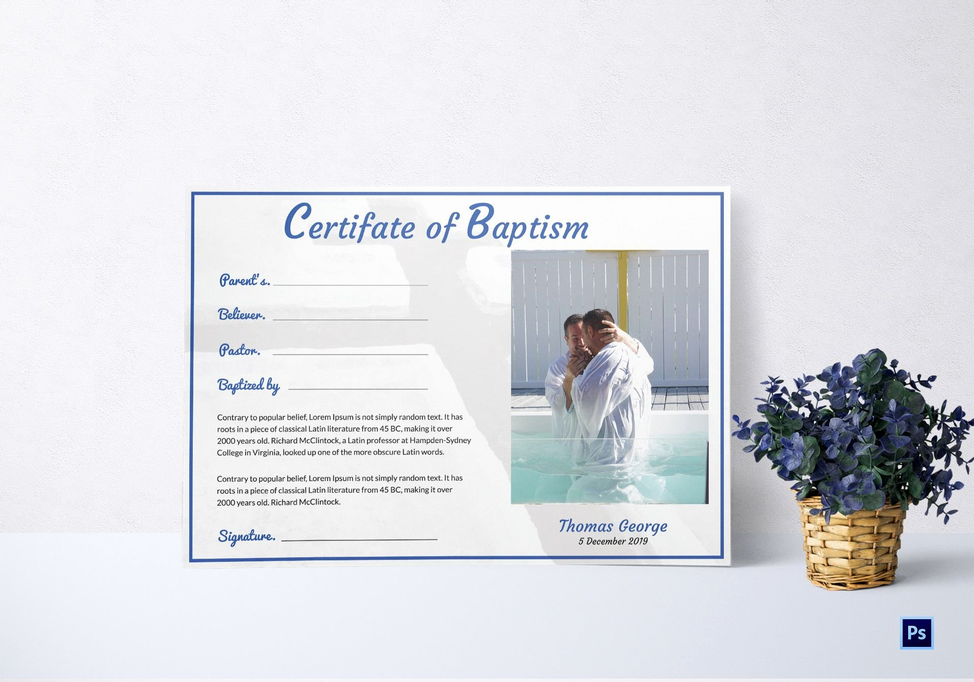 Baptism Certificate Template Word New Adult Baptism Certificate Template In Adobe Shop
