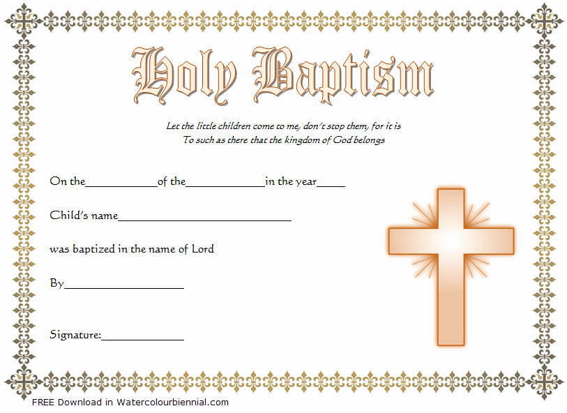 Baptism Certificate Template Word New Baptism Certificate Template Word [9 New Designs Free]