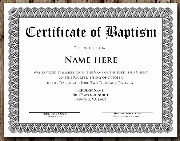 Baptism Certificate Templates Free Download Awesome Baptism Certificate 20 Free Samples Examples format