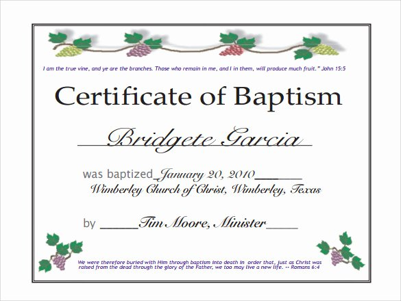 Baptism Certificate Templates Free Download Fresh Blog Archives