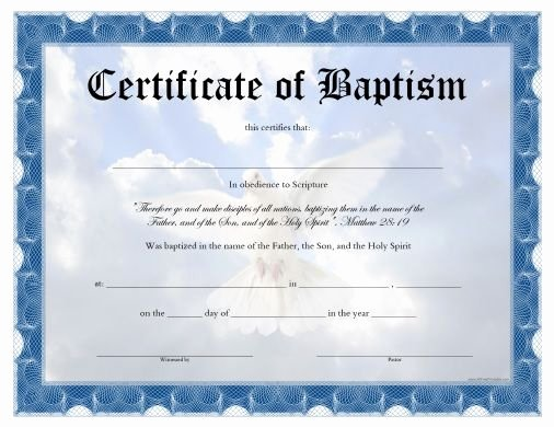 Baptism Certificate Templates Free Download Fresh Free Printable Baptism Certificate