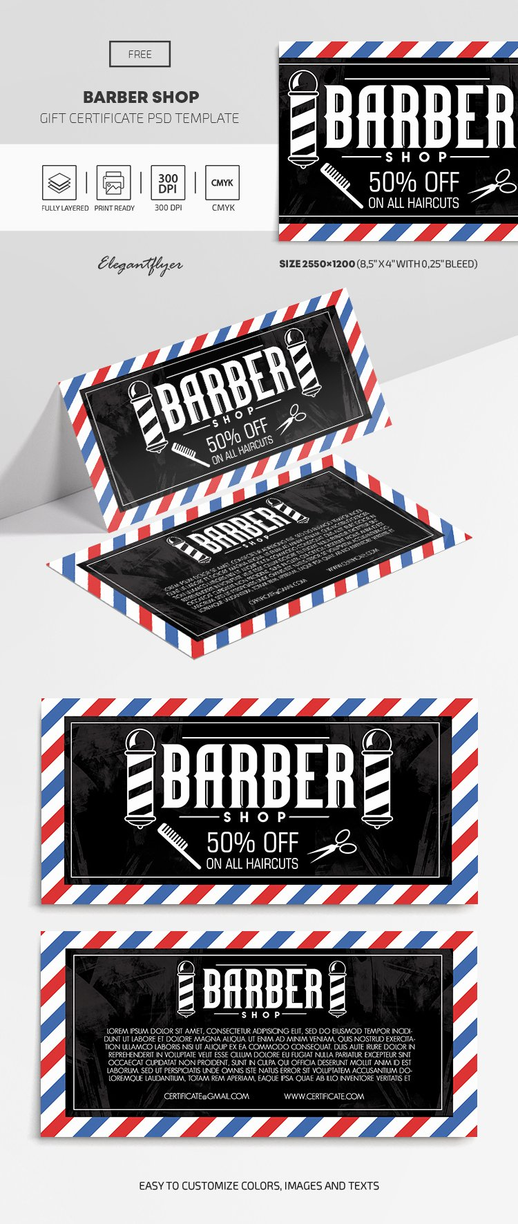 Barber Shop Gift Certificate Template Elegant Barber Shop Gift Certificate Template