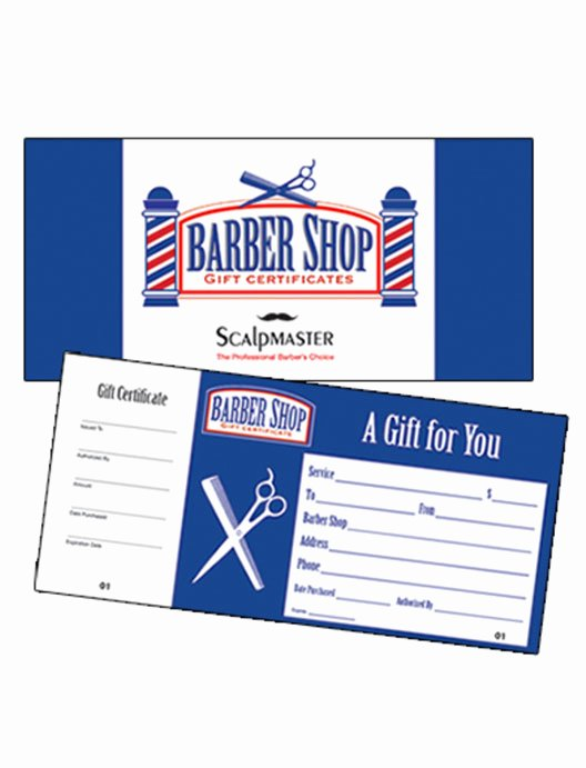 Barber Shop Gift Certificate Template Luxury Scalpmaster Barber Shop Gift Certificate 50 Count