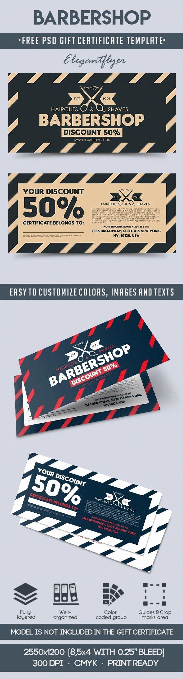 Barber Shop Gift Certificate Template Unique Barber Shop Gift Certificate Template