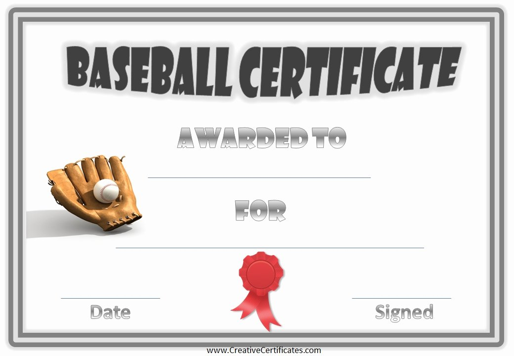 Baseball Award Certificate Template Beautiful Best S Of Certificates for Youth Baseball Players