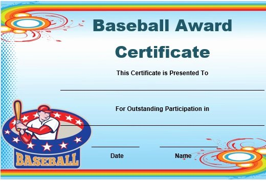 Baseball Award Certificate Template Fresh Certificate Border Template