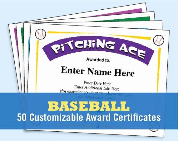 Baseball Award Certificate Template New Baseball Certificates Baseball Awards Kid Certificates