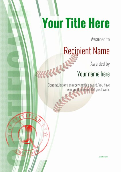 Baseball Award Certificate Template New Use Free Baseball Certificate Templates by Awardbox