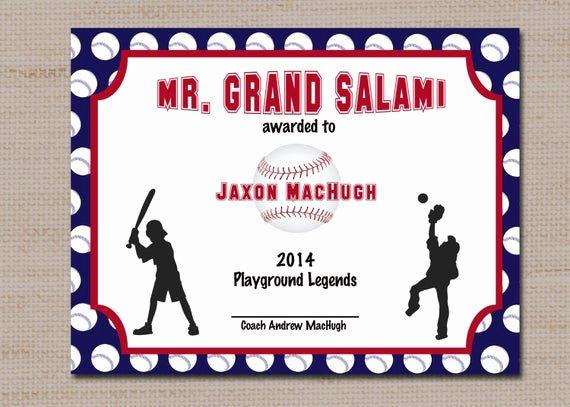Baseball Award Certificate Template Unique Baseball Sports Award Certificate 8 5 X 11 Printable Digital