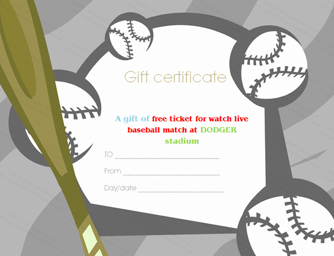 Baseball Certificate Template Word Awesome Baseball Tickets Gift Certificate Template
