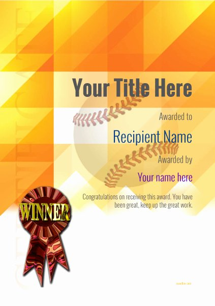 Baseball Certificate Template Word Awesome Use Free Baseball Certificate Templates by Awardbox