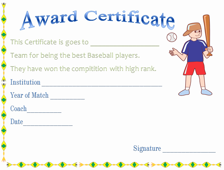 Baseball Certificate Template Word Best Of Baseball Award Certificate Template