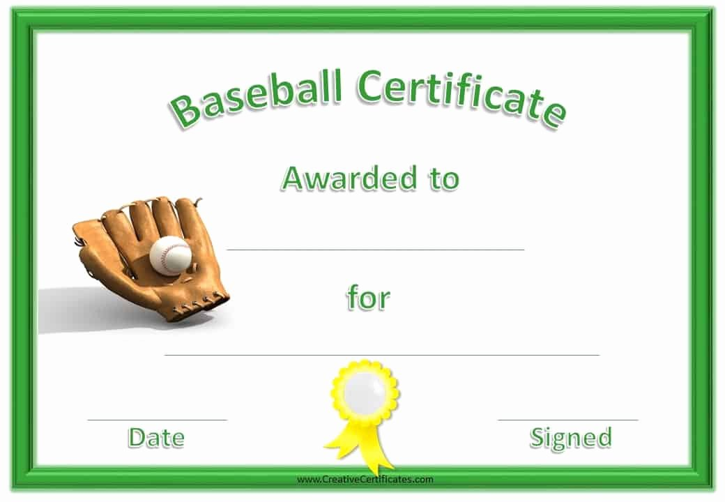 Baseball Certificate Template Word Elegant Free Baseball Certificate Awards Customize Line