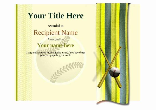 Baseball Certificate Template Word Elegant Use Free Baseball Certificate Templates by Awardbox