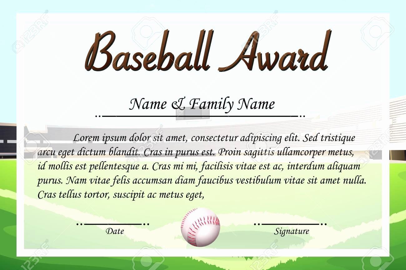 Baseball Certificate Template Word Fresh Baseball Award Template