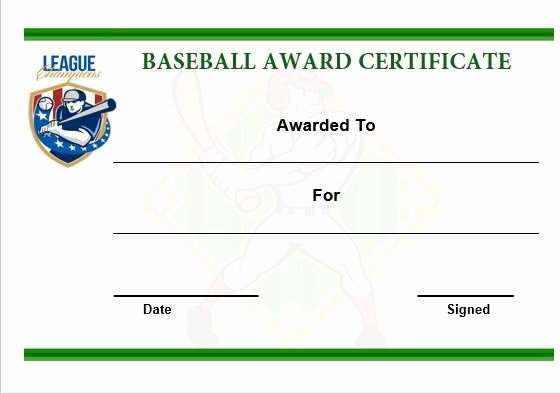 Baseball Certificate Template Word Inspirational Baseball Award Certificate Template Word