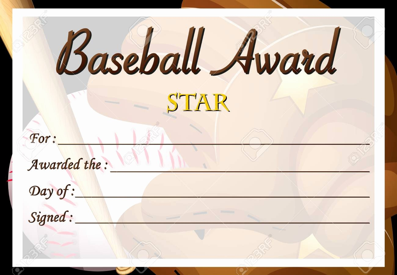 Baseball Certificate Template Word Lovely Baseball Award Template