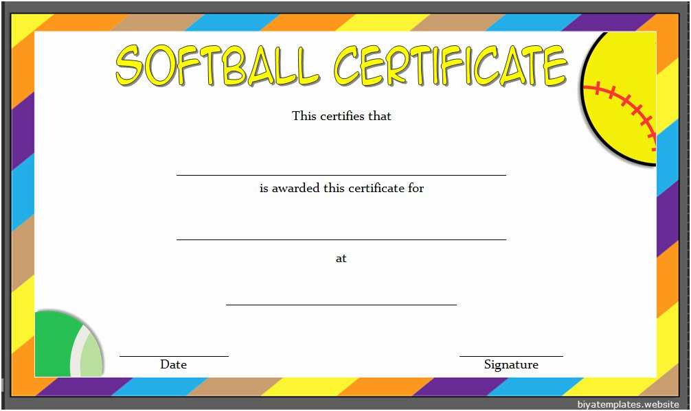 Baseball Certificate Template Word Luxury Printable softball Certificate Templates [10 Best Designs